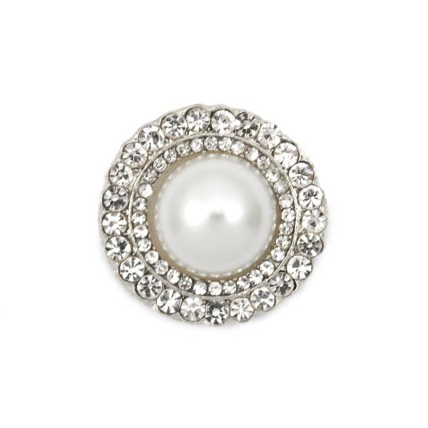 Knapp med Diamanter/Bling og perle 21mm